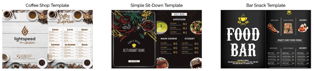 Free restaurant menu template Lightspeed
