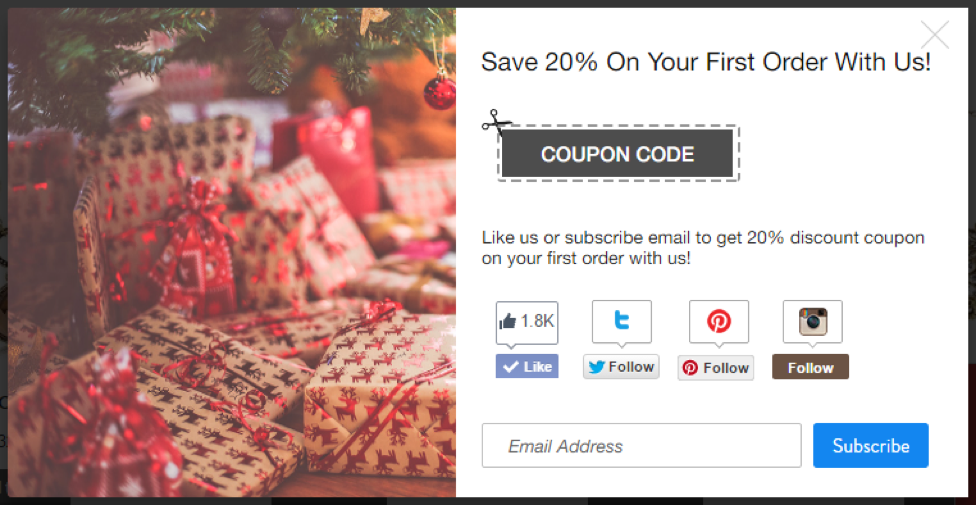 Example of a coupon pop-up