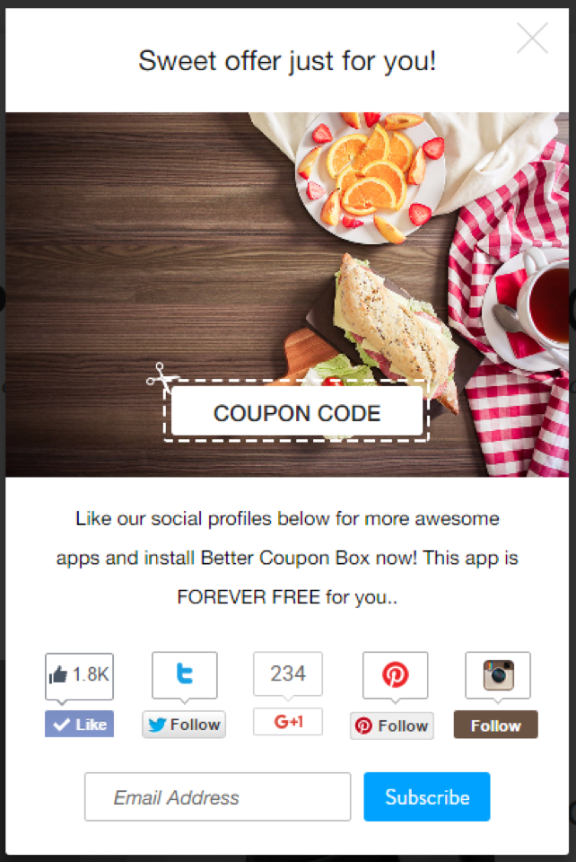Example of coupon-pop for online stores