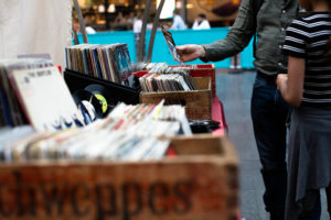 shopping in a record store