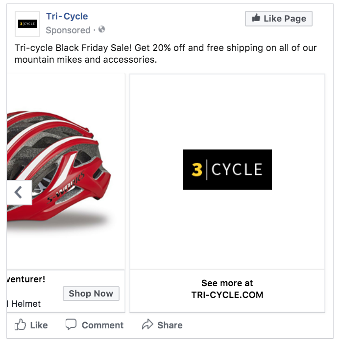 Facebook ad number two in carousel format