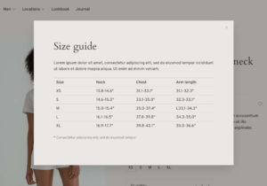 Size guides for your eCom shop optimize the online shopping experience