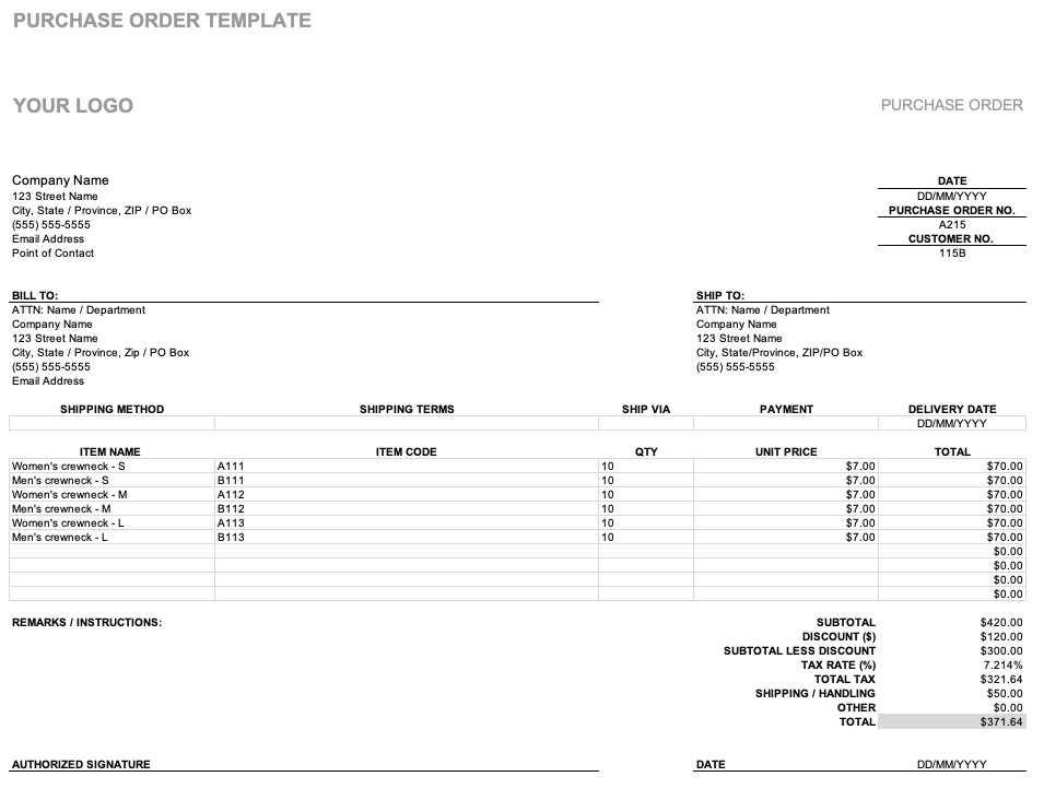 purchase order definition accounting
